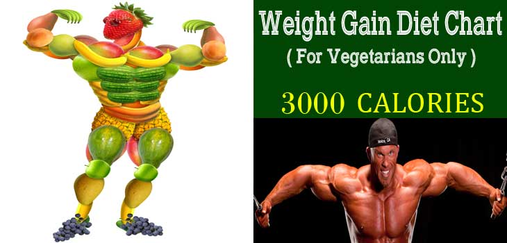 Indian Weight Gain Diet Chart (3000 CALORIES) For Vegetarians