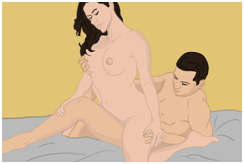 The Seated Scissors sex position (Woman on Top)